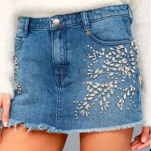 Free People Denim Rhinestone Mini Skirt Size 6